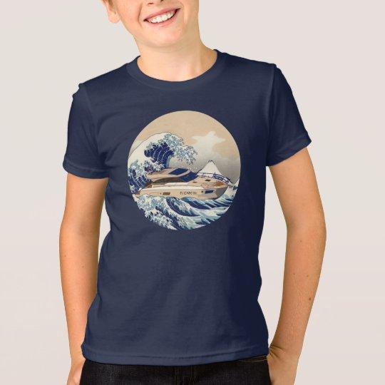 Lustiges Bewegungsyacht-Boot auf der Hokusai T-Shirt