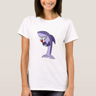 Lustiges blauer Haifisch-Trinkglas Rotwein T-Shirt
