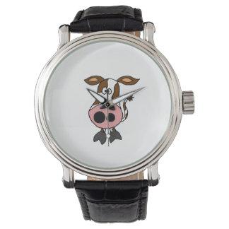 Lustiges Brown und weißer Kuh-Cartoon Uhr