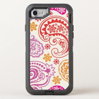 Lustiges buntes Blumenpaisley-Muster OtterBox Defender iPhone 7 Hülle