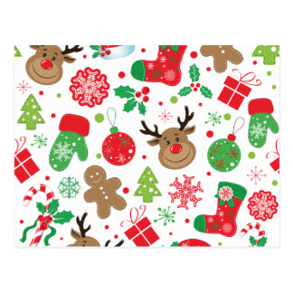 Lustiges buntes Christmassy Muster Postkarte