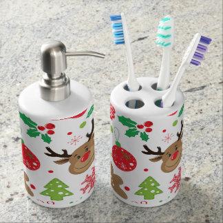 Lustiges buntes Christmassy Muster Zahnbürstenbehälter