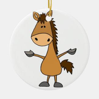 Lustiges Cartoon-Bucht-Pferd Keramik Ornament