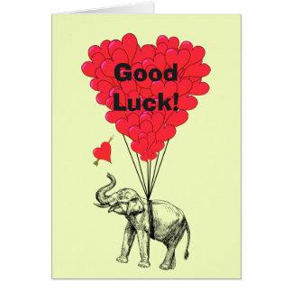 Lustiges Elefant- und Herz-viel Glück Karte