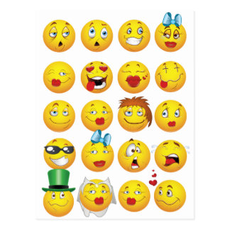 Lustiges Emoji stellt cooles fantastisches Lächeln Postkarte