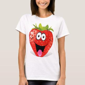 Lustiges Erdbeergesicht, das heraus Zunge haftet T-Shirt