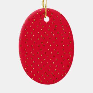 Lustiges Erdbeerhintergrundrot Ovales Keramik Ornament