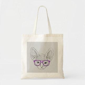 Lustiges Geeky Nerdy Sphynx mit aufgenommenen Einkaufstasche