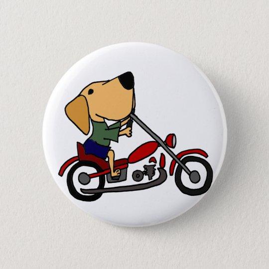 Lustiges gelbes Labrador retriever auf Motorrad Runder Button 5,1 Cm
