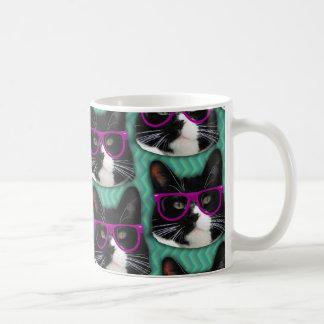 Lustiges Glas-Smokings-Katzen-Muster Kaffeetasse