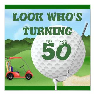Lustiges Golf-50. Geburtstags-Einladungen Quadratische 13,3 Cm Einladungskarte