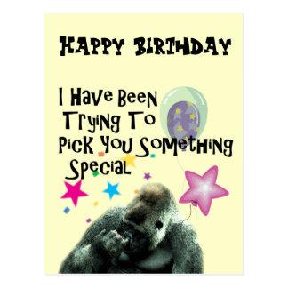 Lustiges Gorilla-Spaß-Geburtstags-Geschenk Postkarte