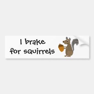 Lustiges graues Eichhörnchen mit Eichel Autoaufkleber