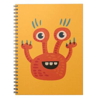 Lustiges großes mit Augen lächelndes niedliches Spiral Notizblock