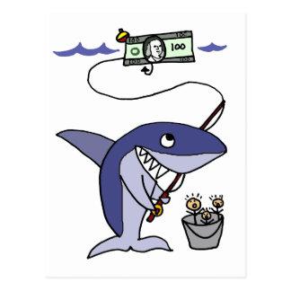 Lustiges Haifisch-Fischen für Leute Postkarte