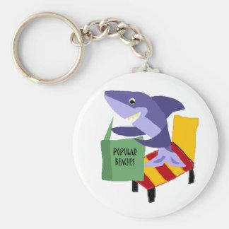 Lustiges Haifisch-Lesebuch über populäre Strände Schlüsselanhänger