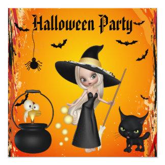 Lustiges Hexenbrew-Halloween-Party lädt ein Quadratische 13,3 Cm Einladungskarte