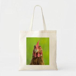 Lustiges Huhn-Porträt auf grüner Taschen-Tasche Tragetasche