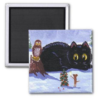 Lustiges Katzen-Mäuseeulen-Weihnachten Quadratischer Magnet