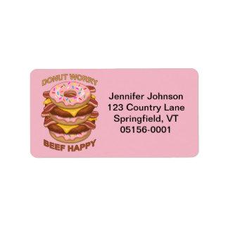 Lustiges Krapfen-Sorge-Rindfleisch-glücklicher Adressaufkleber