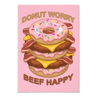 Lustiges Krapfen-Sorge-Rindfleisch-glücklicher Karte