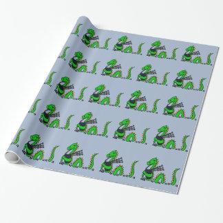 Lustiges Loch- Nessmonster, das blaue Dudelsäcke Geschenkpapier