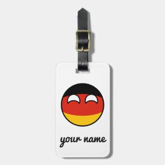Lustiges neigendes Geeky Deutschland Countryball Gepäckanhänger