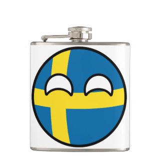 Lustiges neigendes Geeky Schweden Countryball Flachmann