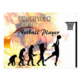 Lustiges Netball-Spieler-Evolutions-Thema Postkarte