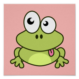 Lustiges niedliches Frosch-Cartoon-Kinderzimmer Poster