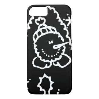 Lustiges niedliches Schwarzweiss-Snowman-Gesicht iPhone 8/7 Hülle