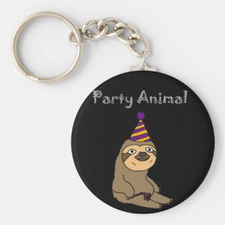 Lustiges niedliches Sloth-Party-Tier Schlüsselanhänger