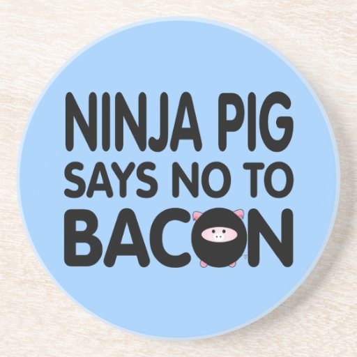 Lustiges Ninja Schwein lehnt Speck ab Bierdeckel