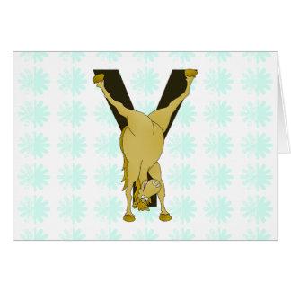 Lustiges Pony des Monogramm-Y personalisiert Karte