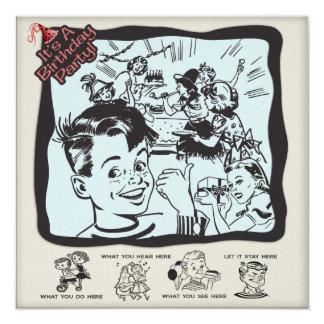 Lustiges Retro Kindergeburtstag-Party Quadratische 13,3 Cm Einladungskarte