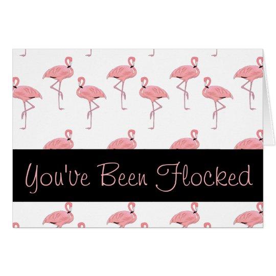 lustiges rosa Flamingoscharen Grußkarte