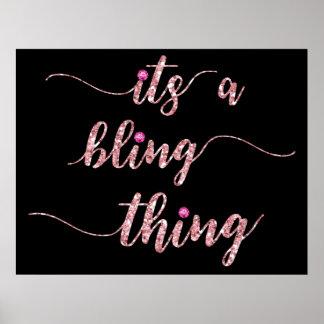 Lustiges rosa Girly Bling Sprichwort Poster