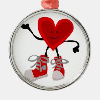 Lustiges rotes Herz im Turnschuh-Cartoon Silbernes Ornament