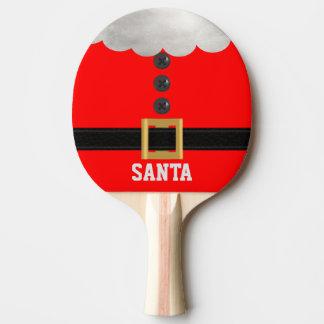 Lustiges rotes Weihnachtssankt-Feiertags-Klingeln Tischtennis Schläger