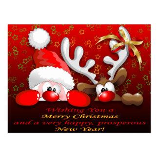 Lustiges Sankt- und Ren-Cartoon-Weihnachten Postkarte