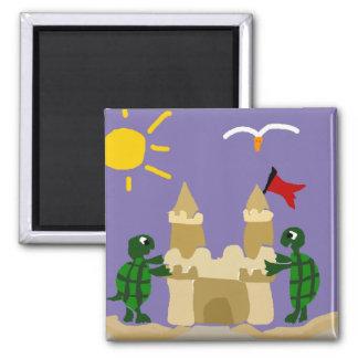 Lustiges Schildkröte-Gebäude-Sand-Schloss Quadratischer Magnet