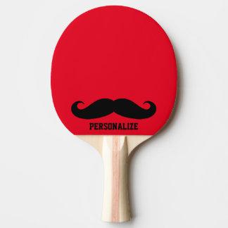 Lustiges schwarzes SchnurrbartTischtennis-Klingeln Tischtennis Schläger