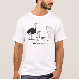 Lustiges Strauß-Pinguin-Kiwi-Fliegen-Huhn führen T-Shirt