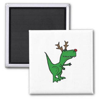Lustiges T-Rex Dinosaurier-Weihnachtsren Quadratischer Magnet