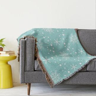 Lustiges Türkis-Schneeflocke-Muster Decke