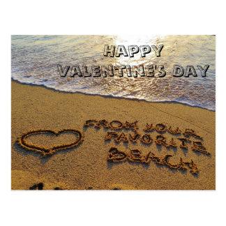 Lustiges Valentinstag-Wortspiel-Strand-Herz Postkarte