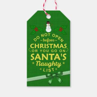 Lustiges Weihnachten öffnen nicht freche Liste Geschenkanhänger
