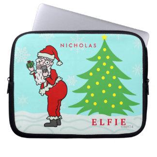Lustiges Weihnachten Sankt Elfie personalisiert Laptop Sleeve