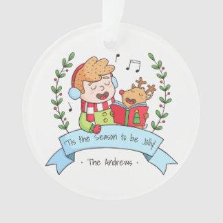 Lustiges Weihnachten singt Jungen-und