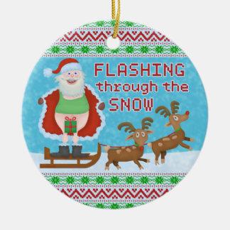 Lustiges Weihnachten | Weihnachtsmann, der durch Keramik Ornament